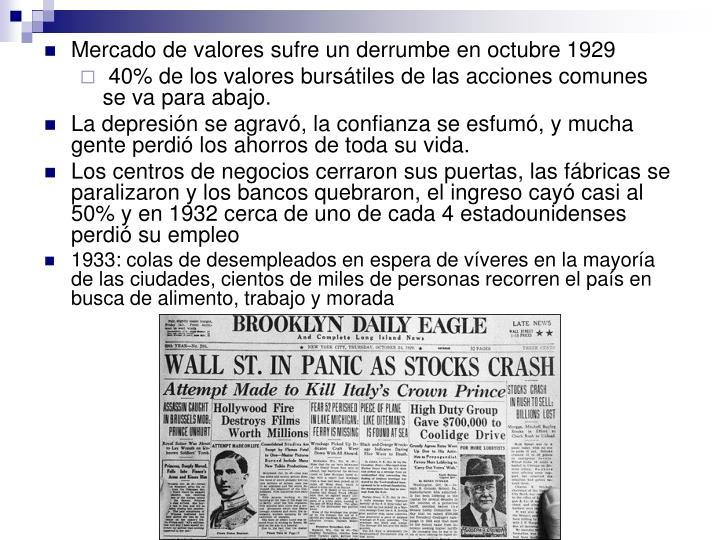 Mercado de valores sufre un derrumbe en octubre 1929