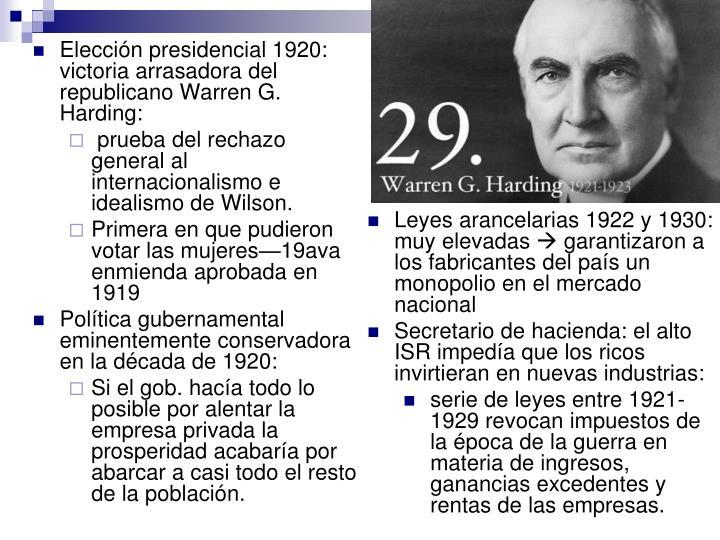 Leyes arancelarias 1922 y 1930: muy elevadas