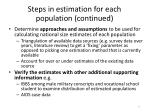 steps in estimation for each population continued1