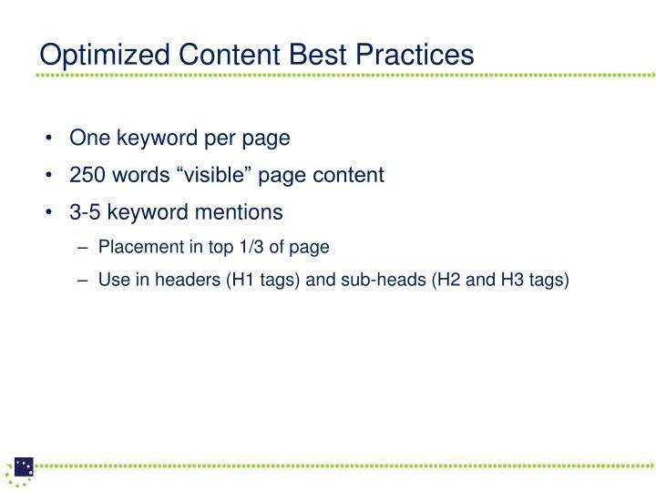 Optimized Content Best Practices
