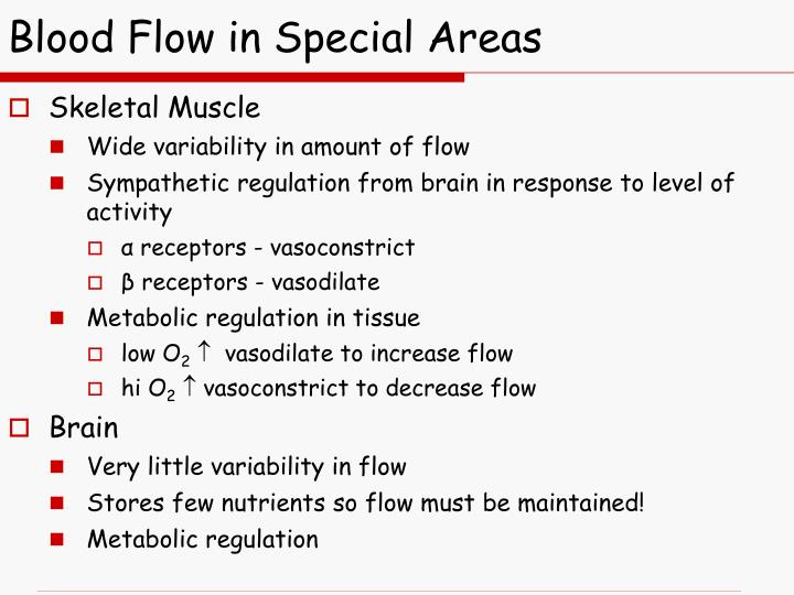 Blood Flow in Special Areas