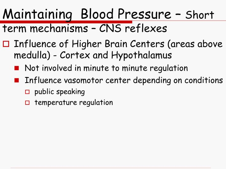 Maintaining  Blood Pressure –