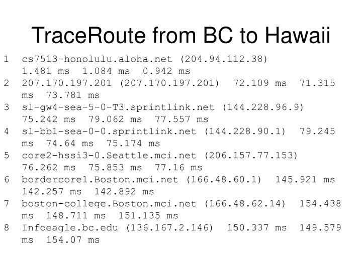 TraceRoute from BC to Hawaii