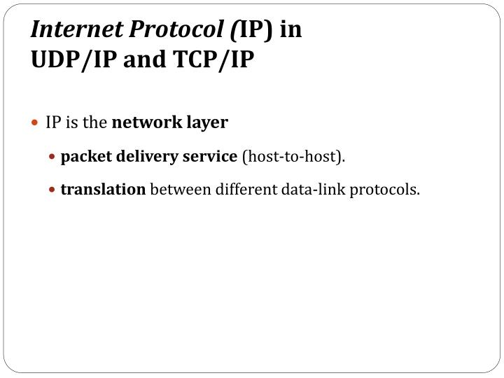 Internet protocol ip in udp ip and tcp ip