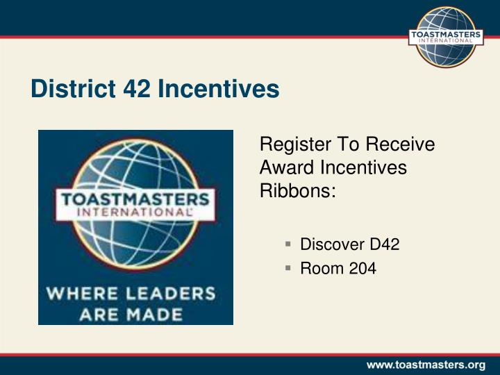 District 42 Incentives