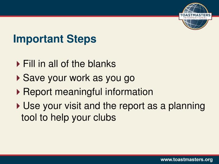 Important Steps