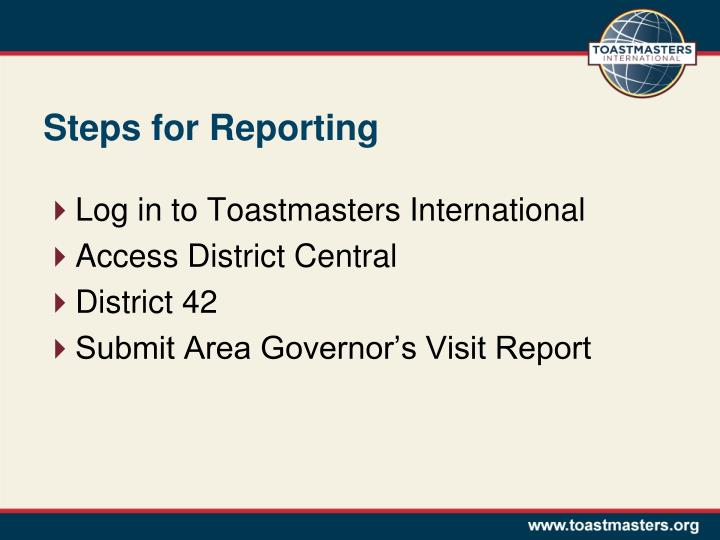 Steps for Reporting