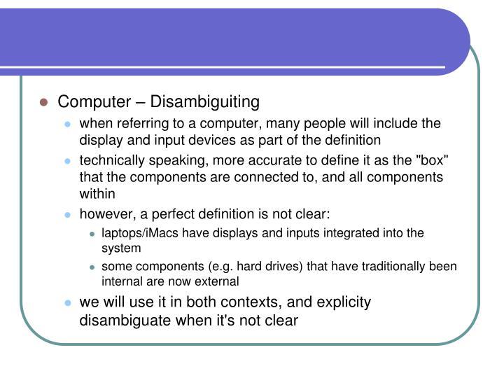 Computer – Disambiguiting