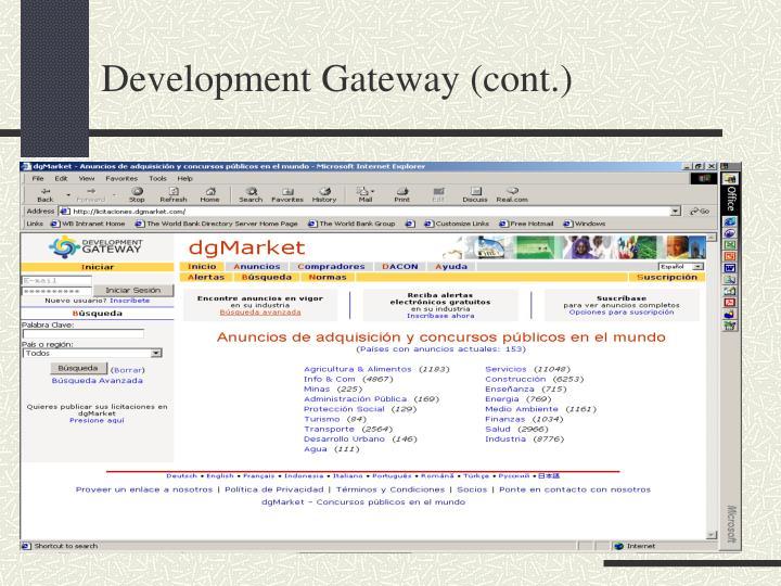 Development Gateway (cont.)