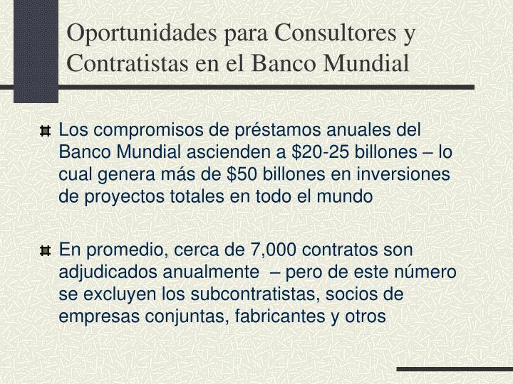 Oportunidades para Consultores y Contratistas en el Banco Mundial