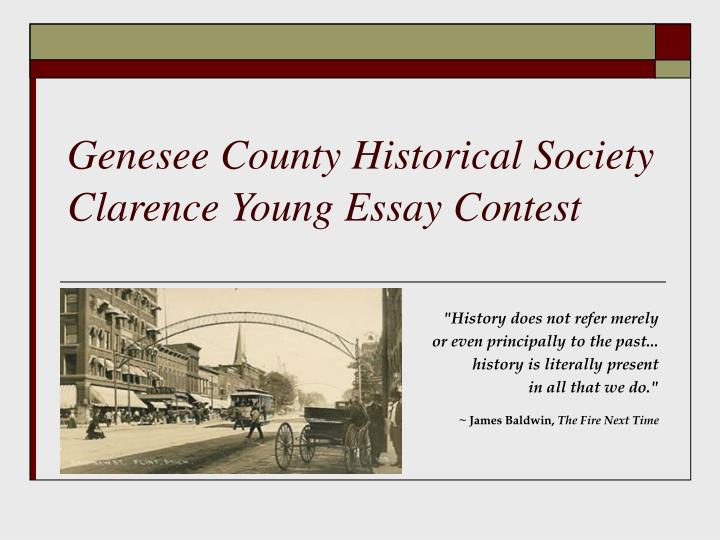 genesee county historical society clarence young essay contest n.