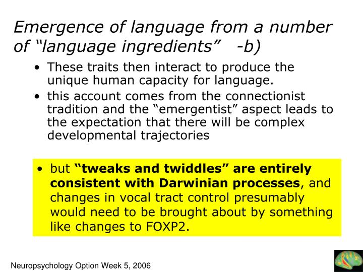"""Emergence of language from a number of """"language ingredients"""""""