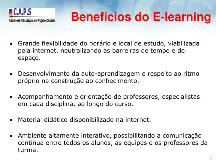 Benefícios do E-learning