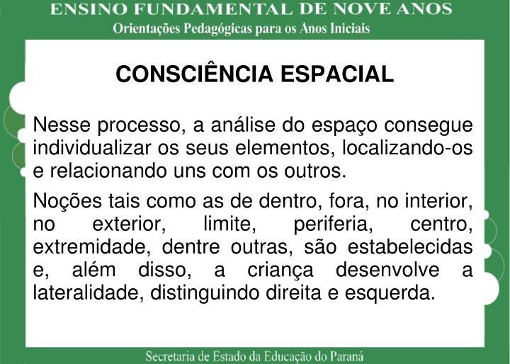 CONSCIÊNCIA ESPACIAL