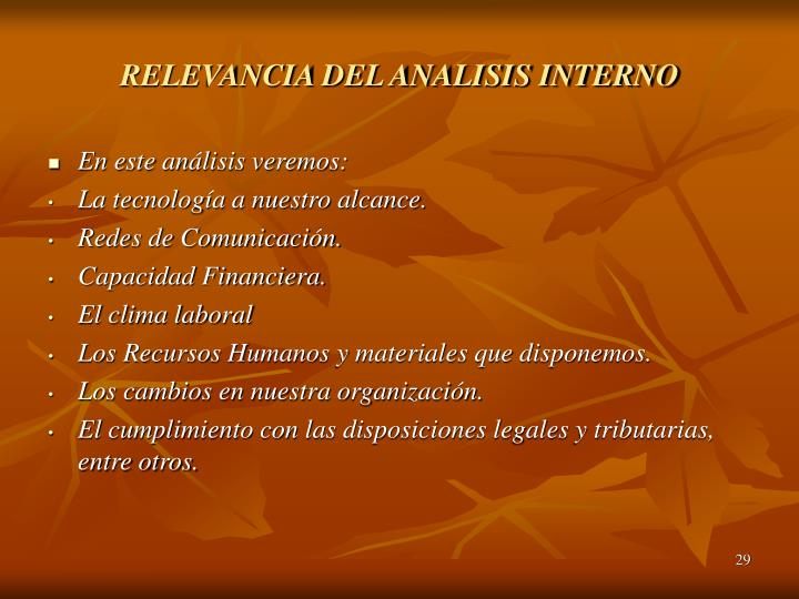 RELEVANCIA DEL ANALISIS INTERNO
