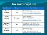 our investigation