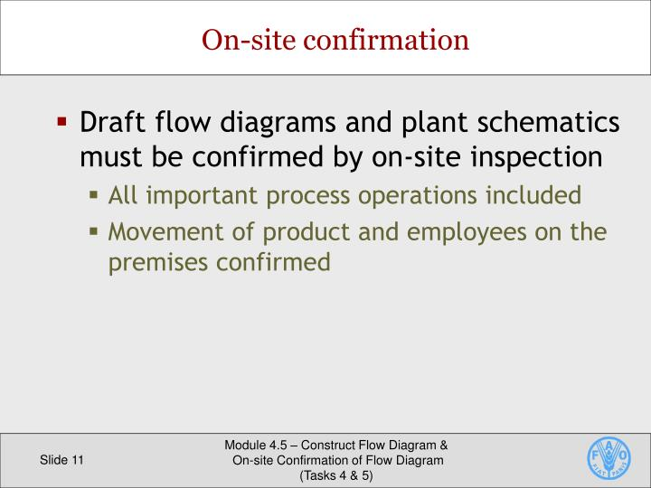 Draft flow diagrams and plant schematics must be confirmed by on-site inspection