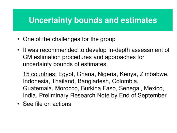 Uncertainty bounds and estimates