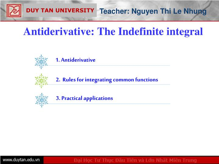 antiderivative the indefinite integral n.