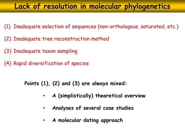 Lack of resolution in molecular phylogenetics
