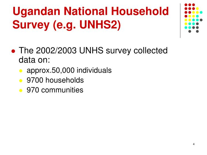 Ugandan National Household Survey (e.g. UNHS2)