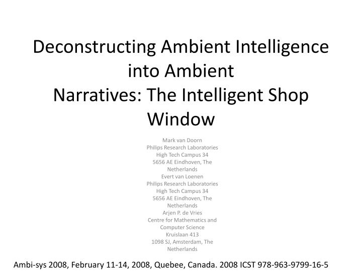 deconstructing ambient intelligence into ambient narratives the intelligent shop window n.
