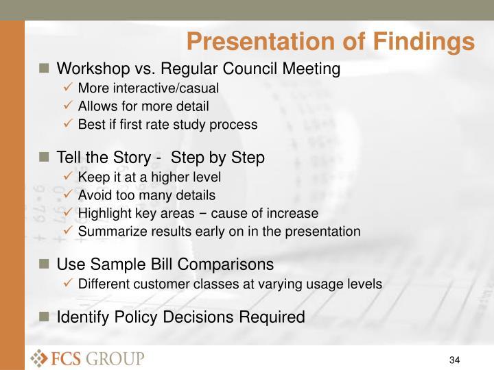 Presentation of Findings