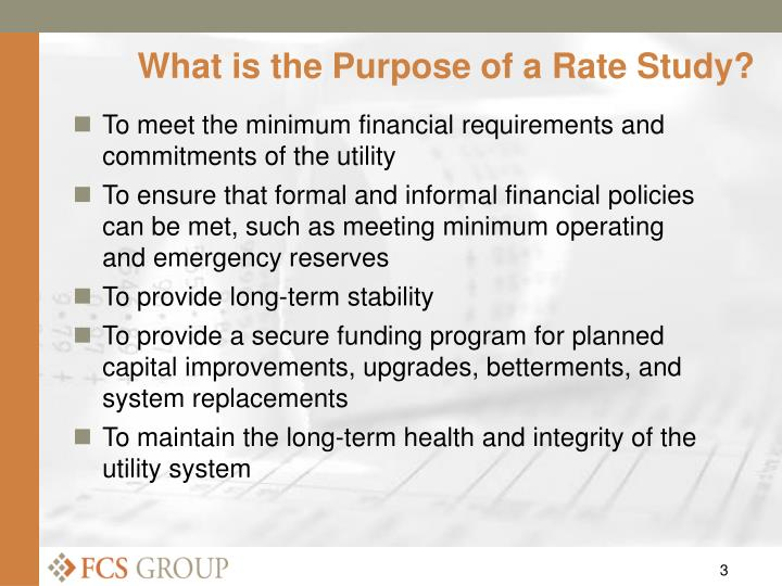 What is the purpose of a rate study