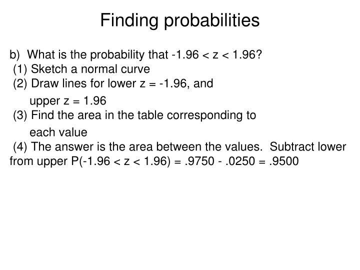 Finding probabilities