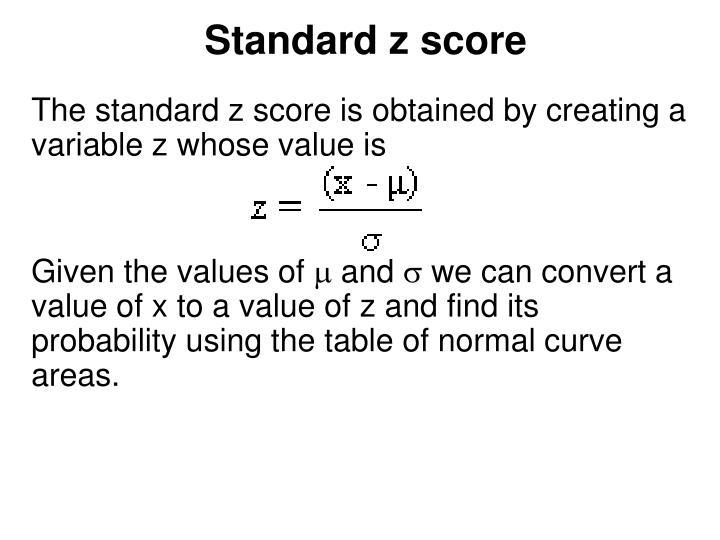 Standard z score