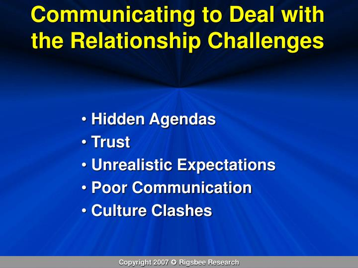 Communicating to Deal with the Relationship Challenges