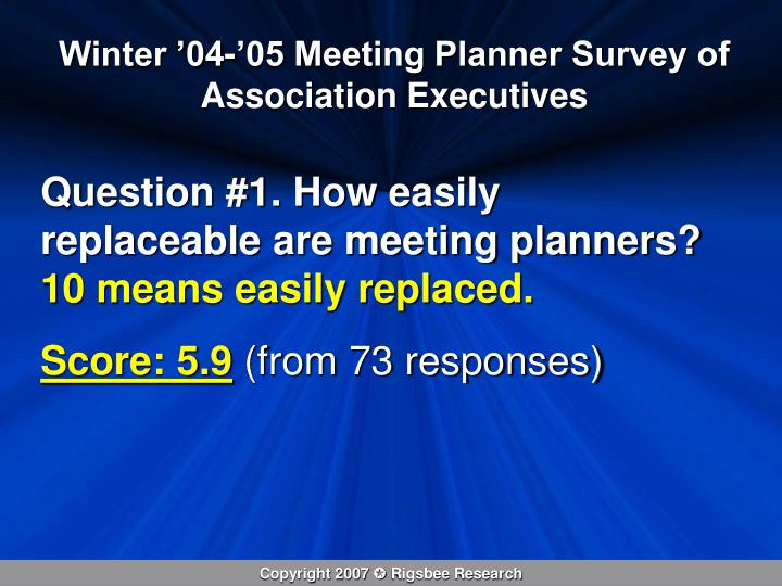 Winter '04-'05 Meeting Planner Survey of Association Executives