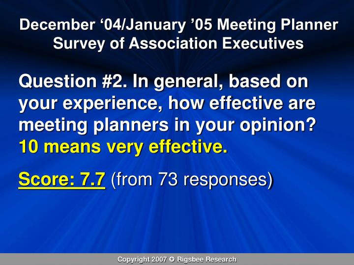 December '04/January '05 Meeting Planner Survey of Association Executives