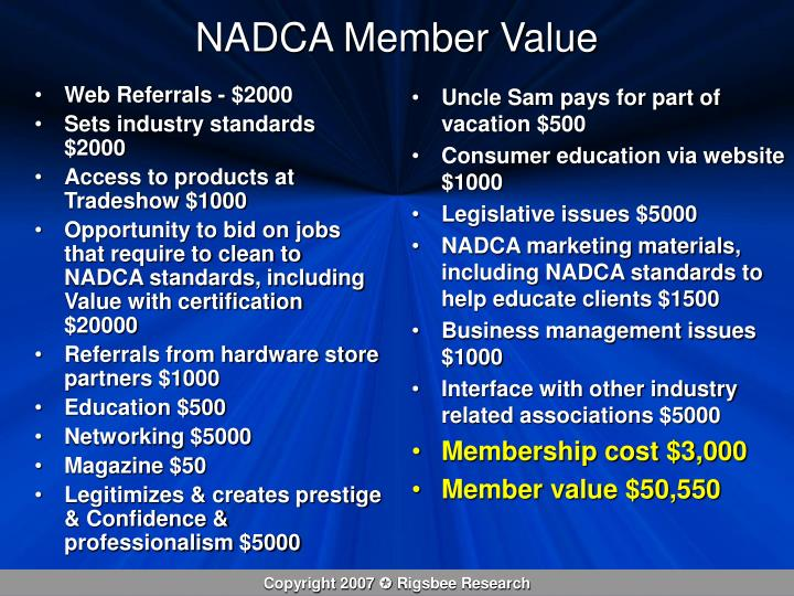 NADCA Member Value