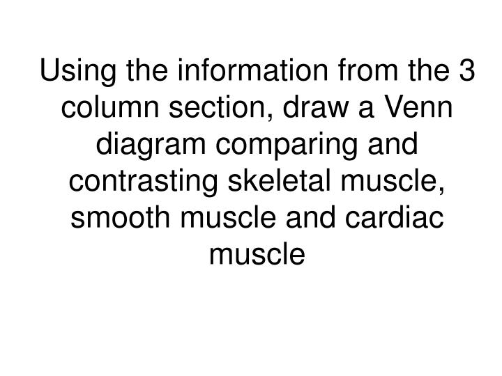 Using the information from the 3 column section, draw a Venn diagram comparing and contrasting skeletal muscle, smooth muscle and cardiac muscle