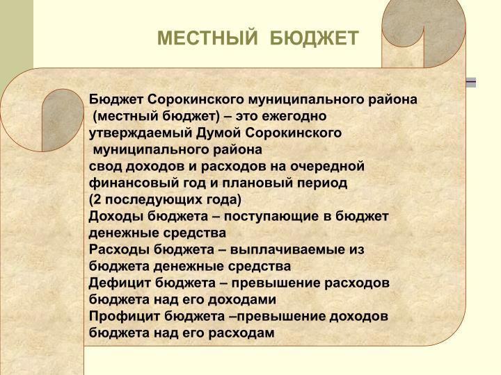 Бюджет Сорокинского муниципального района