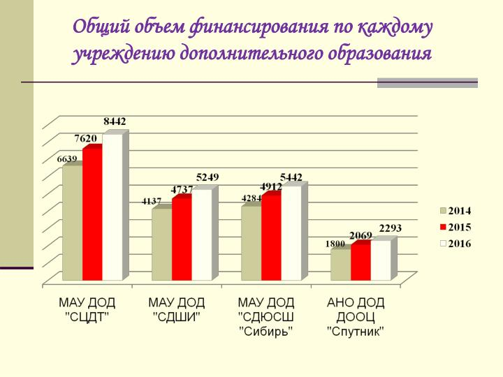 Общий объем финансирования по каждому учреждению дополнительного образования