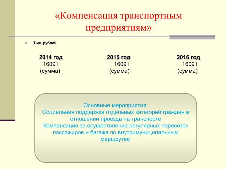 «Компенсация транспортным предприятиям»