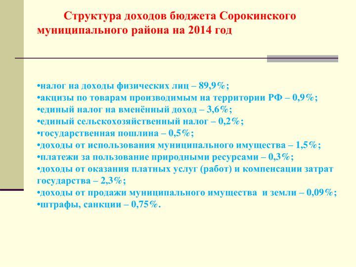 Структура доходов бюджета Сорокинского                                                  муниципального района
