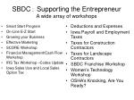 sbdc supporting the entrepreneur a wide array of workshops