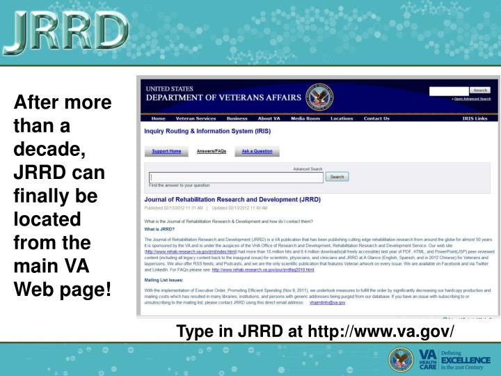 After more than a decade, JRRD can finally be located from the main VA Web page!