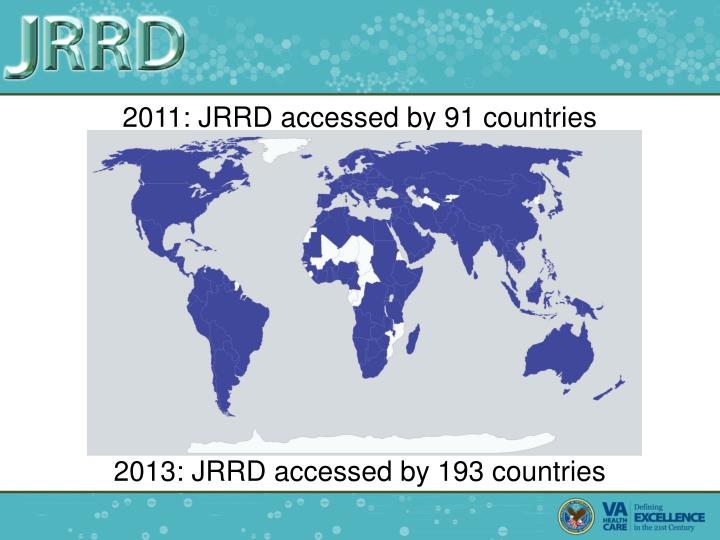 2011: JRRD accessed by 91 countries