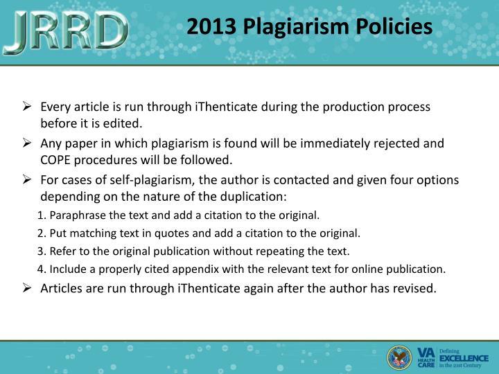 2013 Plagiarism Policies