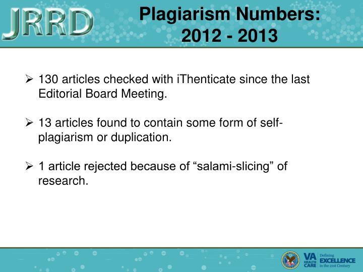 Plagiarism Numbers: