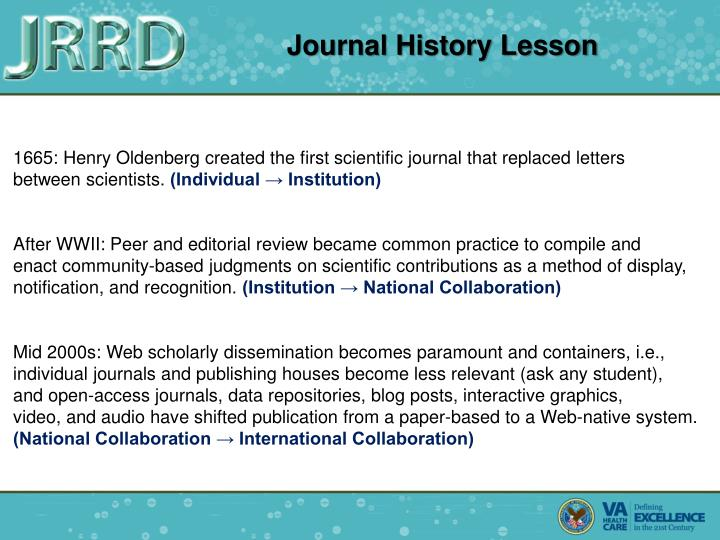 Journal History Lesson