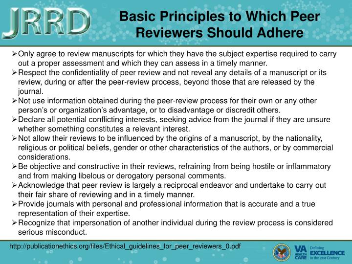 Basic Principles to Which Peer Reviewers Should Adhere