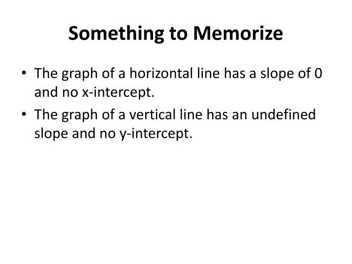 Something to Memorize