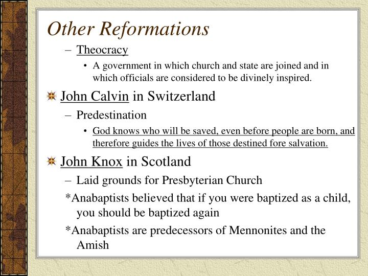 Other Reformations