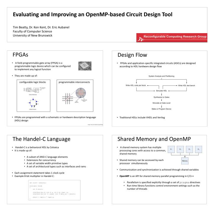 PPT - Evaluating and Improving an OpenMP-based Circuit Design Tool ...