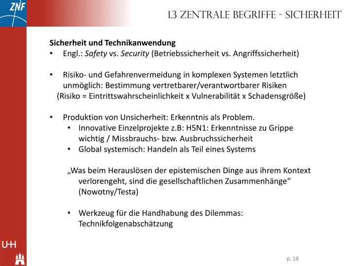 1.3 Zentrale Begriffe - Sicherheit